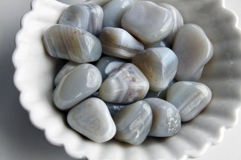 Blue Lace Agate Tumbled Stone - Gemstones&Co
