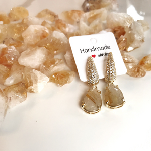 Ruliated Quartz Earrings - Gemstones&Co
