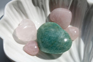 Amazonite + Rose Hearts