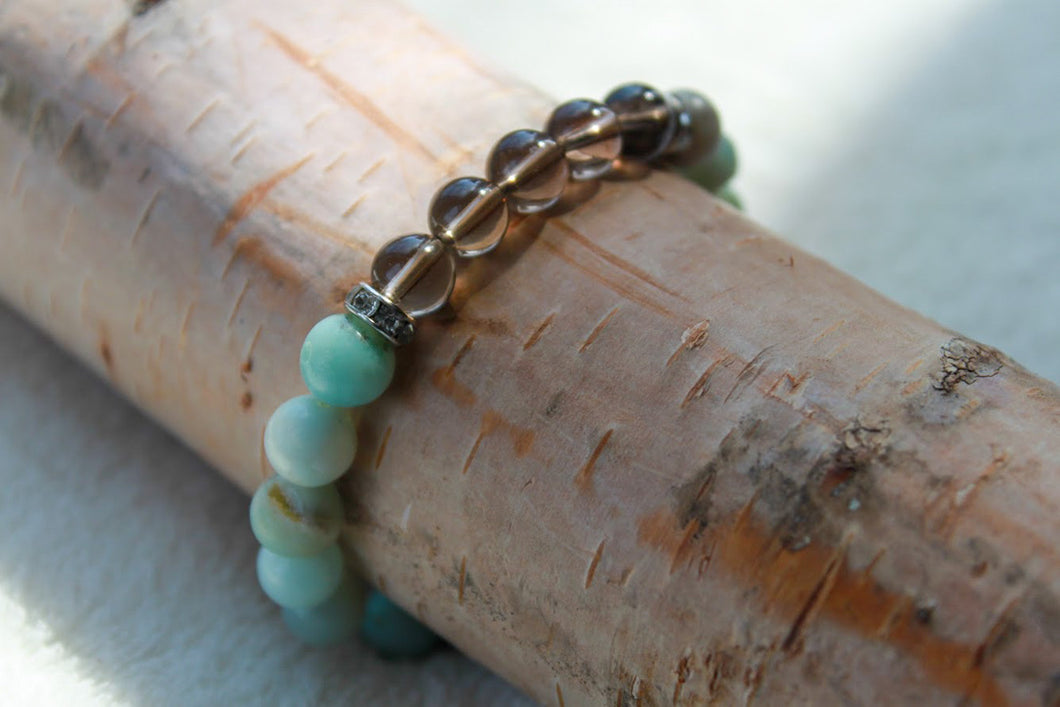 Amazonite + Smokey Bracelet - Gemstones&Co