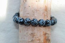 Load image into Gallery viewer, Mens Snowflake Obsidian Bracelet - Gemstones&Co