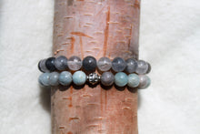 Load image into Gallery viewer, Grey Quartz + Aqua Stackable - Gemstones&Co