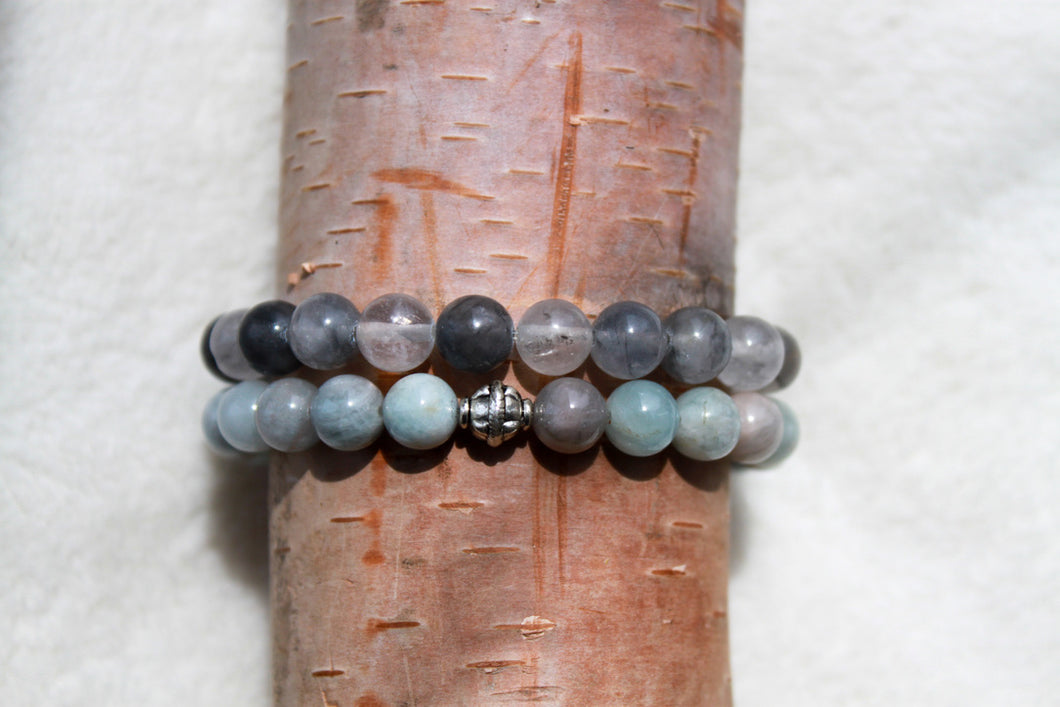 Grey Quartz + Aqua Stackable - Gemstones&Co