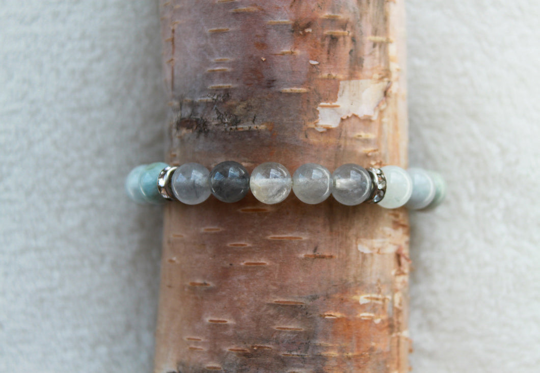 Aqua + Grey Quartz Bracelet - Gemstones&Co