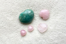 Load image into Gallery viewer, Amazonite + Rose Hearts
