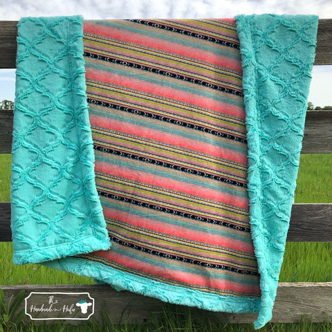 Turquoise Clusters Baby and Adult Minky Blanket By The Handmade Heifer Youth