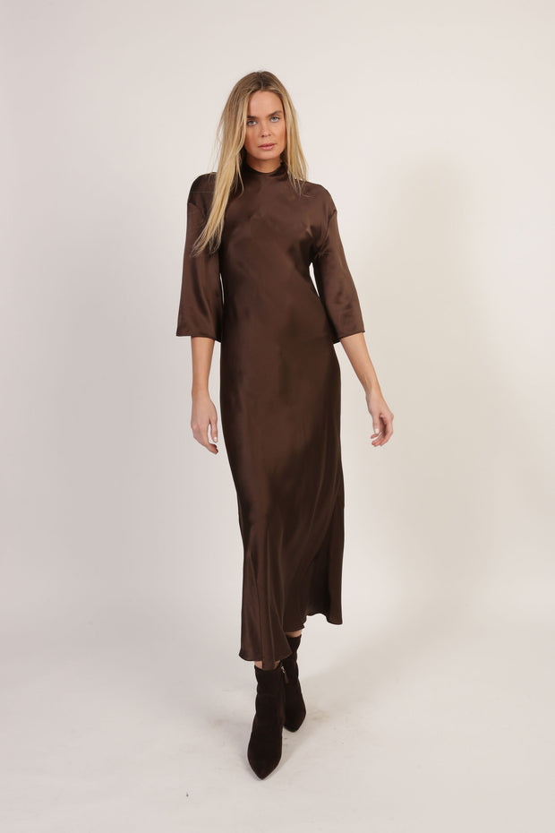 Duncan 3/4 Sleeve Silk Charmeuse Dress