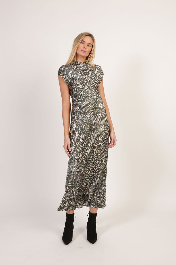 Isadora silk charmeuse dress safari print olive