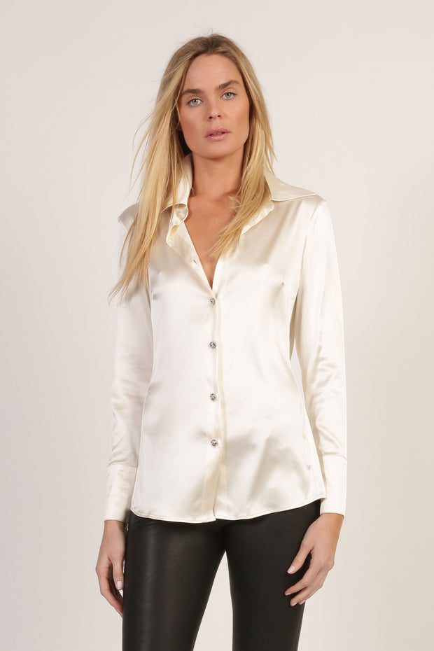 Laura Silk Stretch Silk Charmeuse Shirt