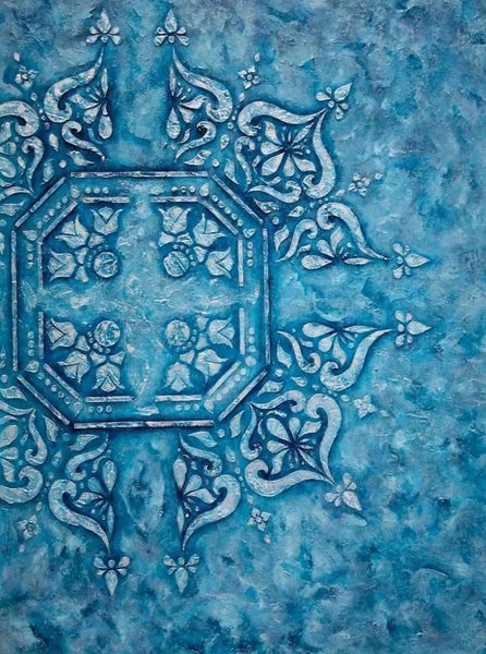 Big Blue Mandala ABSTRACT PAINTING
