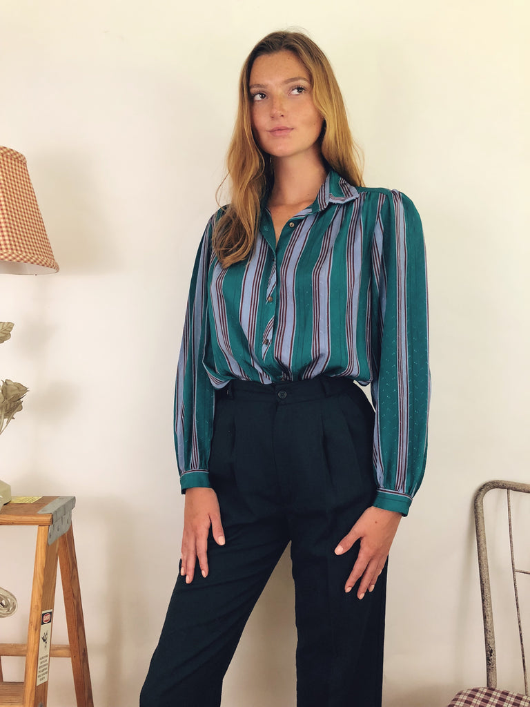 70's Striped Puff Blouse