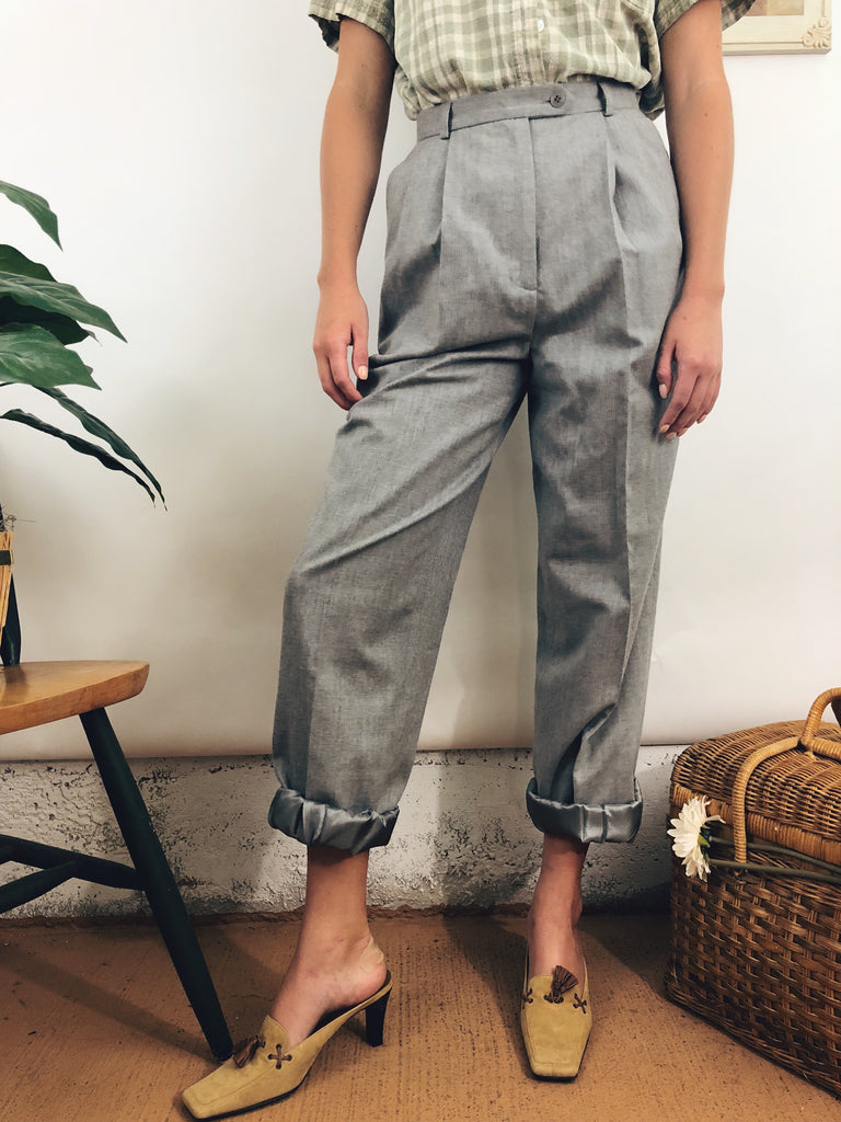 "Cloud Grey Wool Trousers (25""-26"")"
