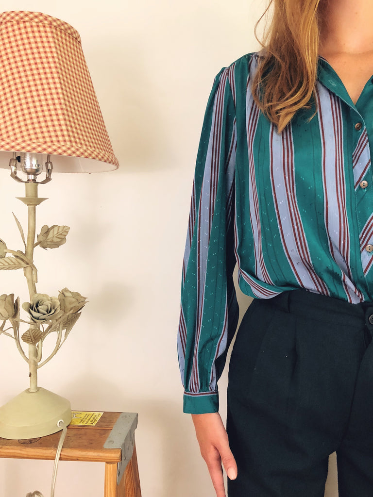 Eccentric Striped Puff Blouse