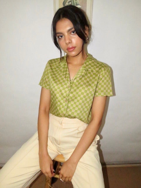 Vintage 90s Matcha Checkered Top (S)