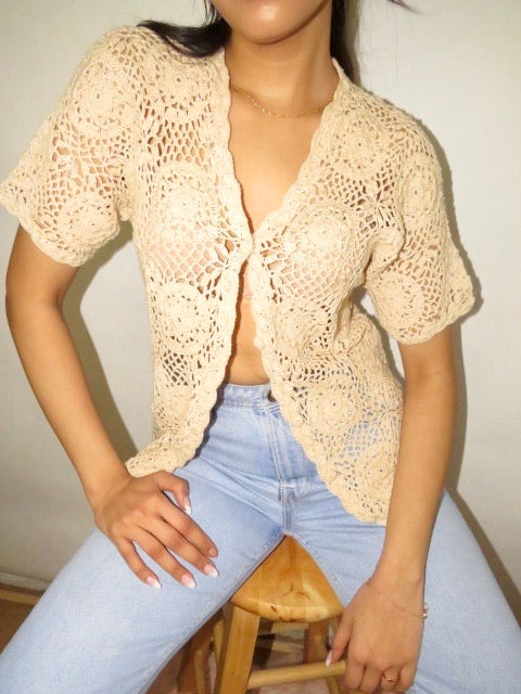 Vintage 90s Crochet Tan Knit (S-M)