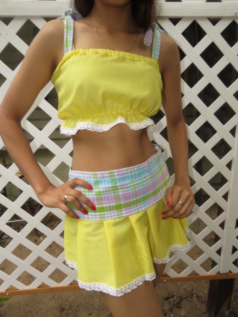 The Playground Skirt— Lemon Plaid Print