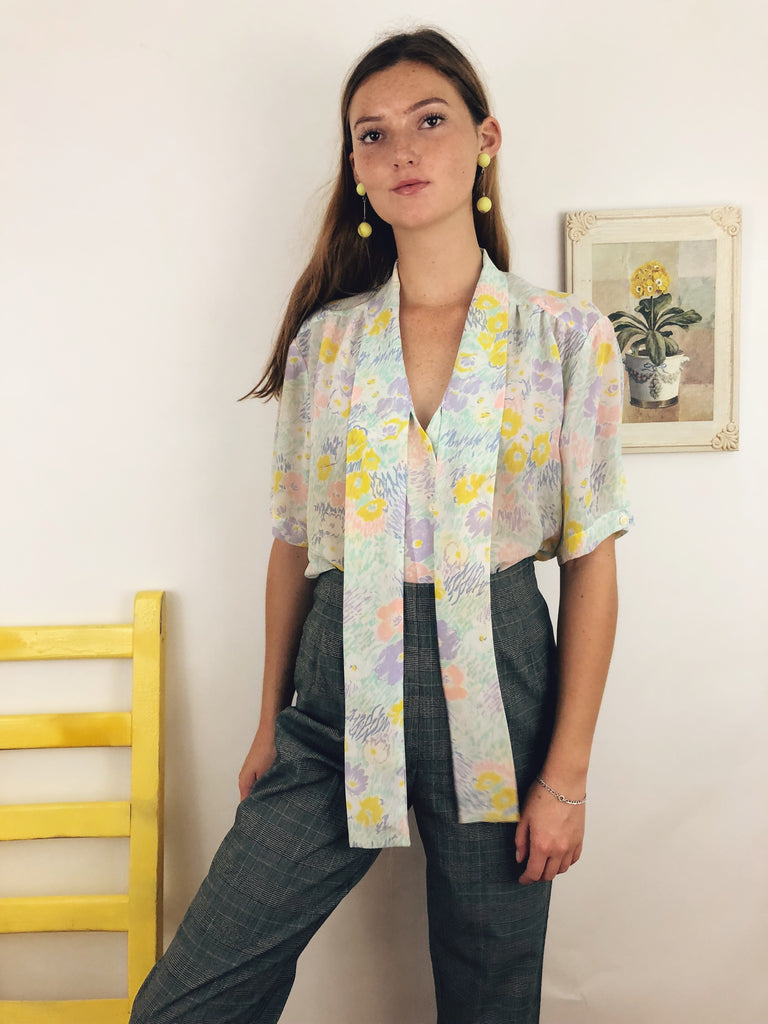 Sheer Watercolor Pastel Blouse