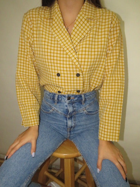 Vintage Double Breasted Plaid Top (M)