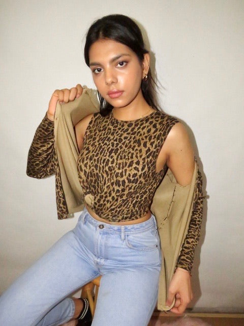 Vintage 90s Twin Silk Cheetah Set (S)