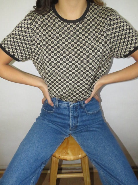 Vintage 90s Checkered Silk Knit (M)