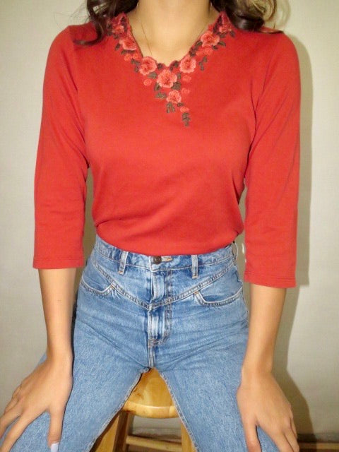 Vintage Apricot Embroidered Knit (S)