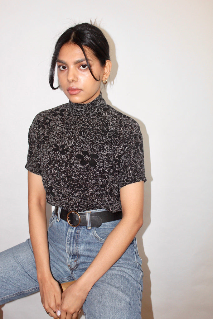 Vintage 90s Floral Mock Neck Knit (M)