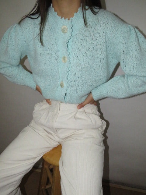 Vintage 80s Puffed Sleeve Knit (M-L)