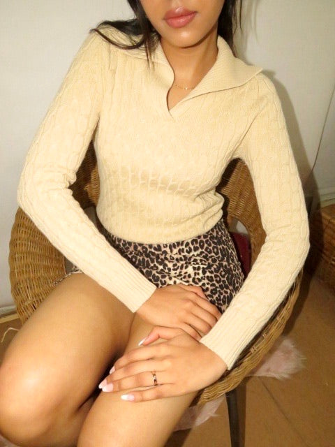 Vintage Tan Collared Knit (XS-S)