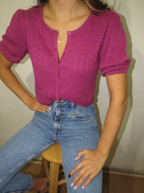 Vintage Raspberry Knit with Pockets (XS-S)