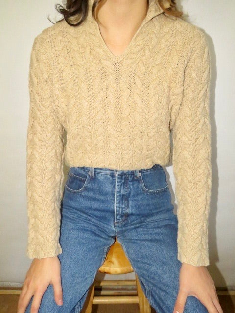 Vintage Oatmeal Chunky Collared Knit (S-M)