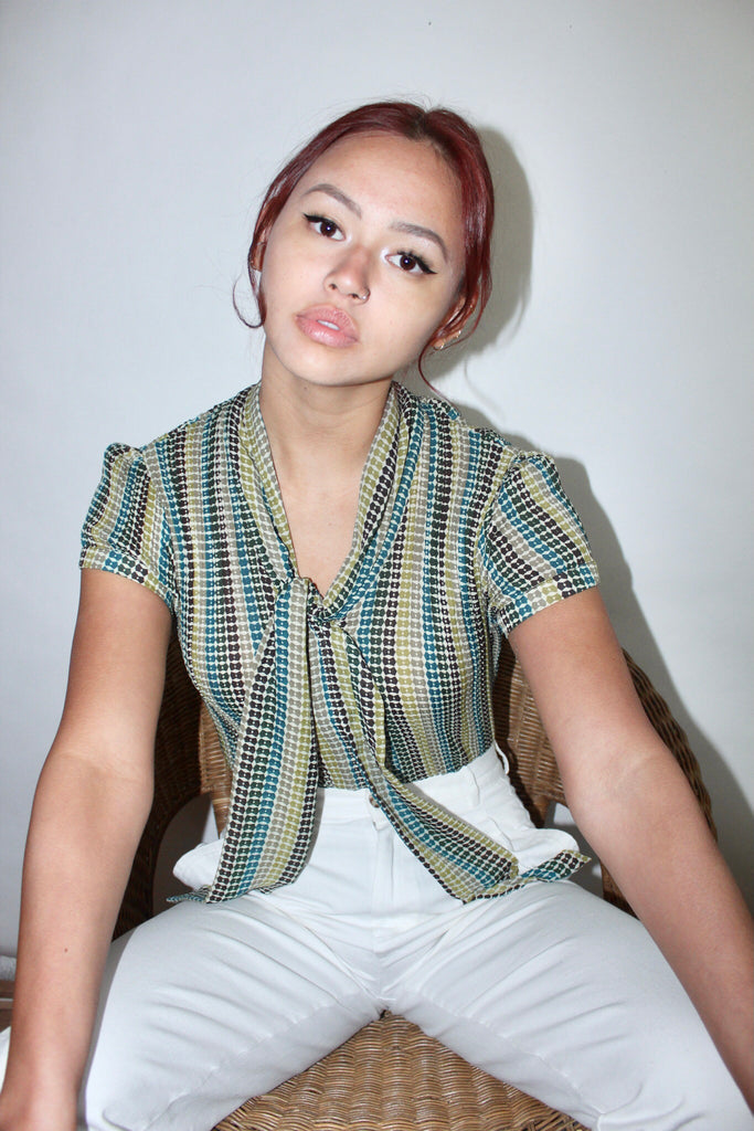 Vintage 90s Retro Dotted Blouse (S)