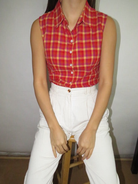 Vintage 90s Raspberry Plaid Top (S)