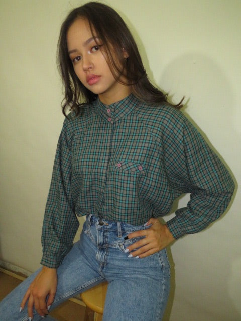 Vintage 70s Mock Neck Plaid (S-M)