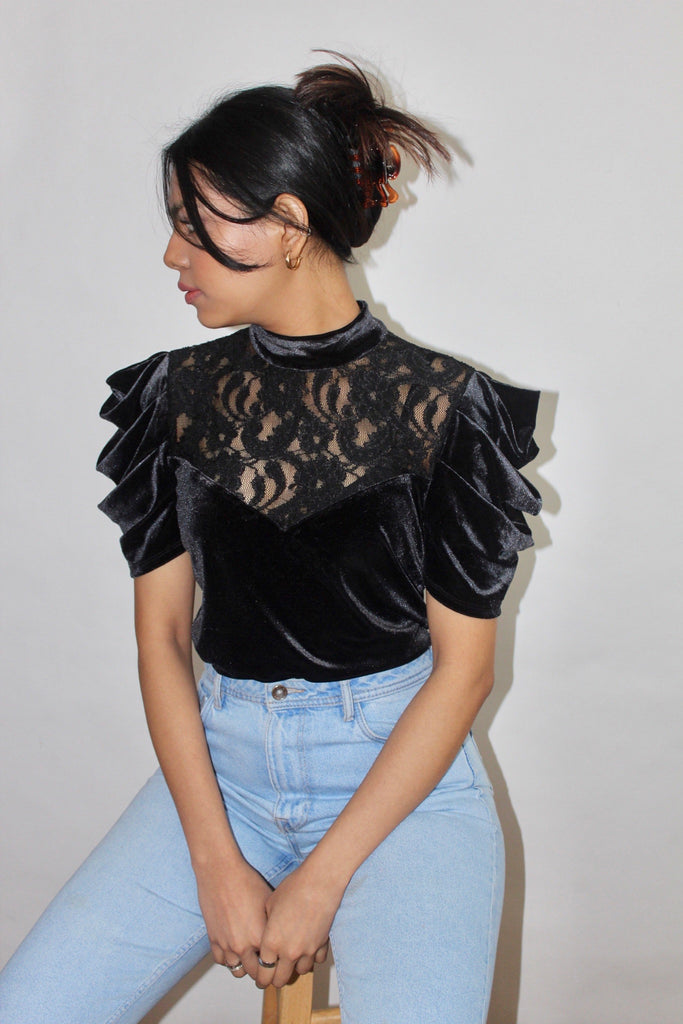 Vintage 80s Edwardian Puff Top (S)