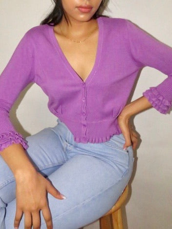 Vintage Ruffled 90s Knit (M)