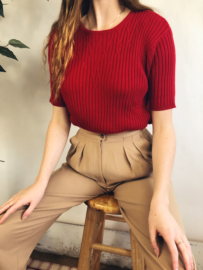 Comfy Cherry Ribbed Knit