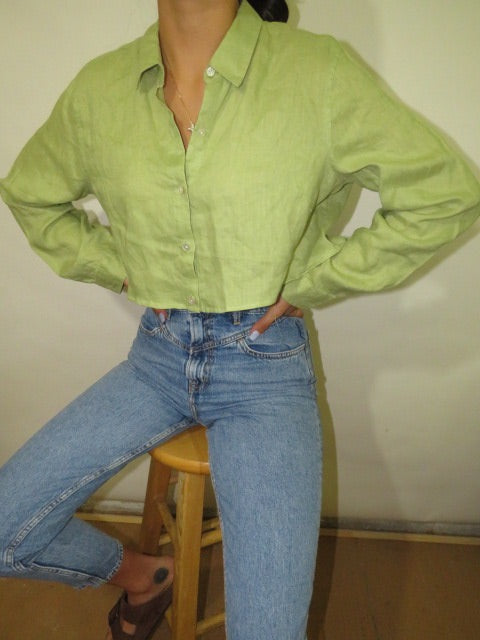 Vintage Linen Custom Crop with Matching Scrunchie (S-L)