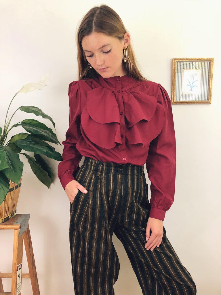 Vintage Ruby Ruffled Blouse