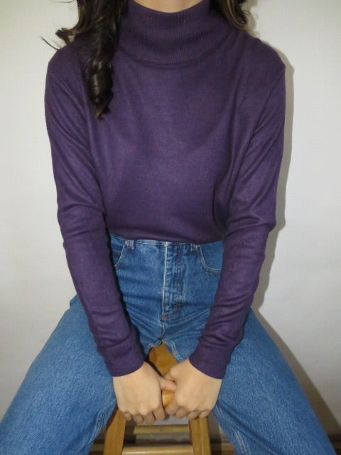 Vintage Eggplant Mock Neck Knit (M)