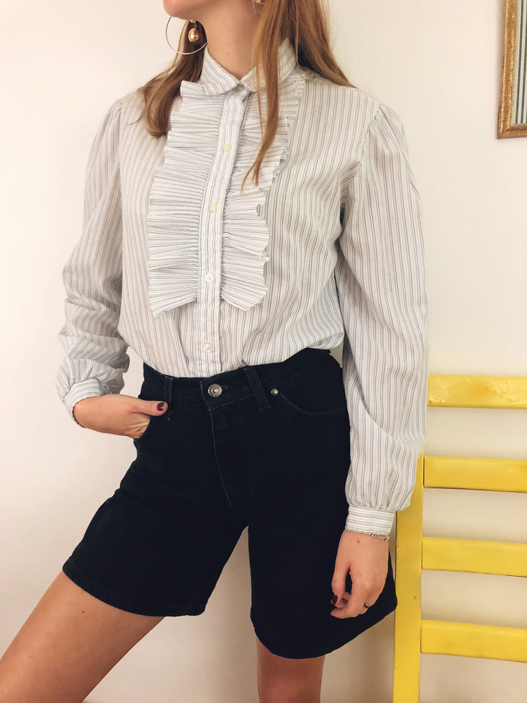 Retro Peasant Striped Blouse