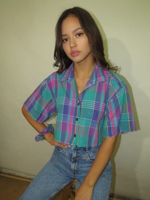 Vintage Plaid Custom Crop with Matching Scrunchie (S-L)