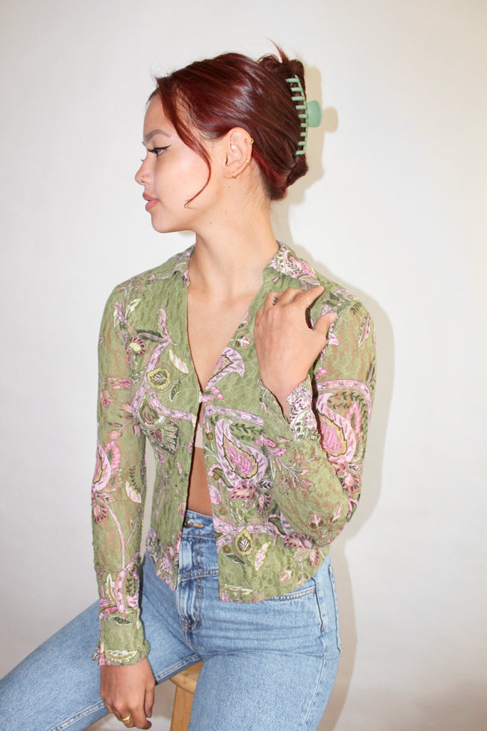 Vintage 90s Lace Knit Top (XS-S)