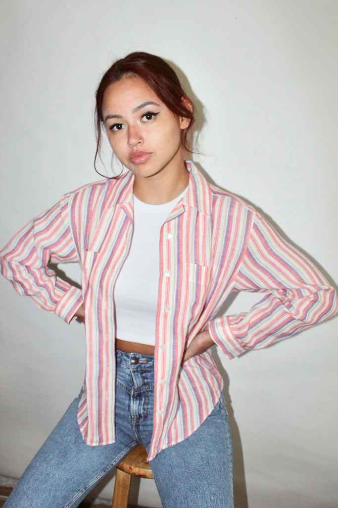 Vintage 90s Linen Button Up (S-M)