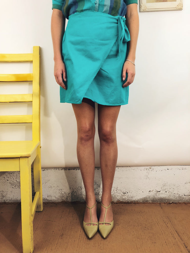 Vintage Turquoise Cotton Wrap Skirt (25-27)