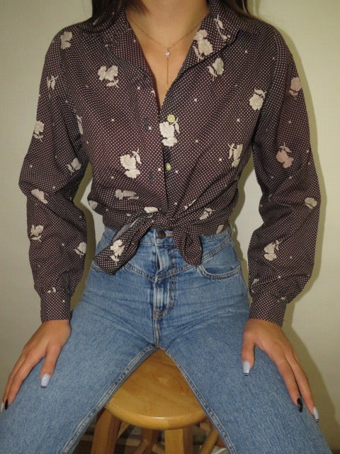 Vintage Floral Long Sleeve (S-M)
