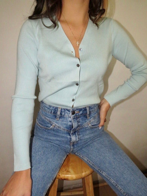 Vintage Sky Blue Silk Knit (S)