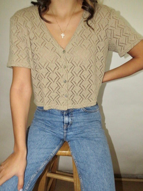Vintage Oatmeal Cropped Knit (S)