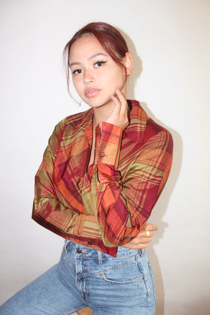 Vintage Retro Silk Plaid Zip Up