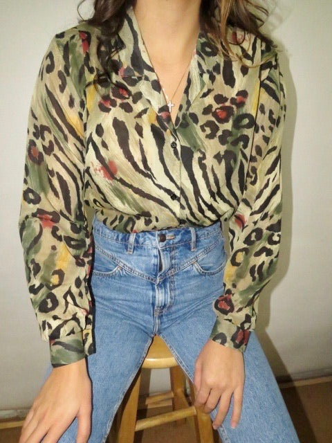 Vintage 80s Safari Blouse (S-M)