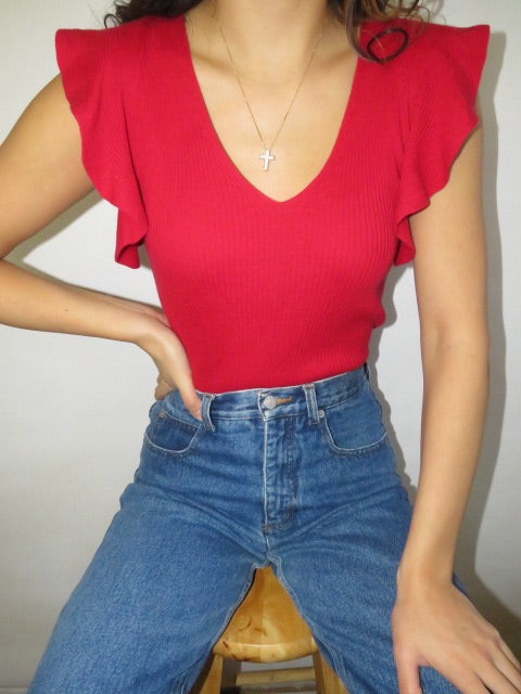 Vintage Ribbed Ruffled Cherry Knit (S)